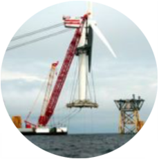 Sea vessels for turbine erection